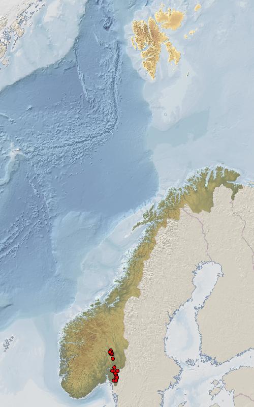Kart. Utbredelse i Norge.
